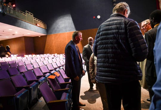 Mayor Dave Kleis talks with people following the State of the City presentation Tuesday, April 9, at Tech High School in St. Cloud.