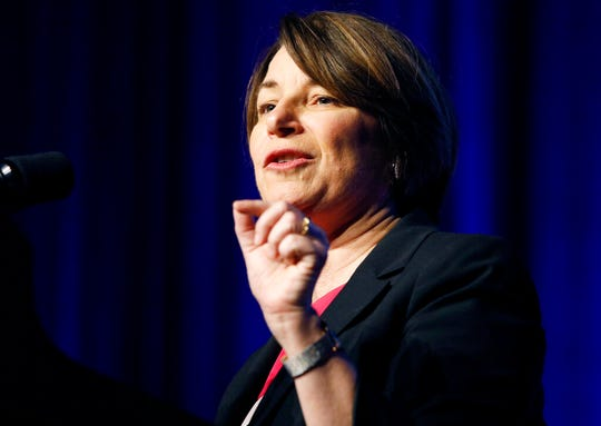 Democratic presidential candidate Sen. Amy Klobuchar, D-Minn., speaks at a convention of the International Association of Machinists and Aerospace Workers, Monday, April 8, 2019, in Las Vegas. (AP Photo/John Locher)