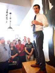 Indiana's South Bend Mayor Pete Buttigieg speaks during a meet and greet event at MadHouse Coffee on Monday, April 8, 2019, in Las Vegas. (Bizuayehu Tesfaye/Las Vegas Review-Journal via AP)