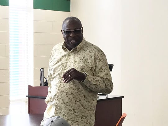 Former MLB player/manager Dusty Baker addresses the FAMU baseball team on Tuesday, April 9, 2019.