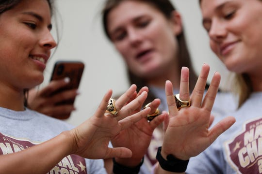 Florida State University soccer players show off their new NCAA Championship rings during FSU Day at the Capitol Tuesday, April 9, 2019.