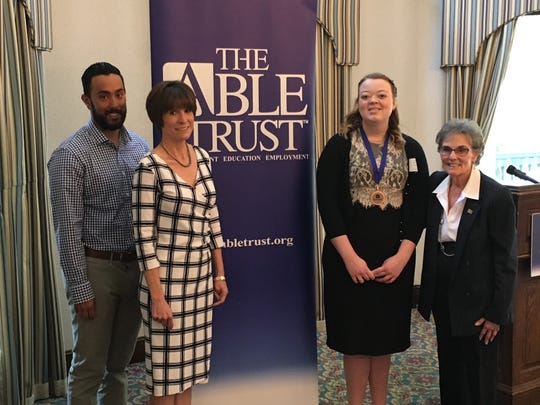 Left to Right: Joseph D'Souza, The Able Trust; Allison Chase, The Able Trust; Audrey Thomas,Gilchrist County High School High Tech Program; and Dr. Susanne Homant, The Able Trust.