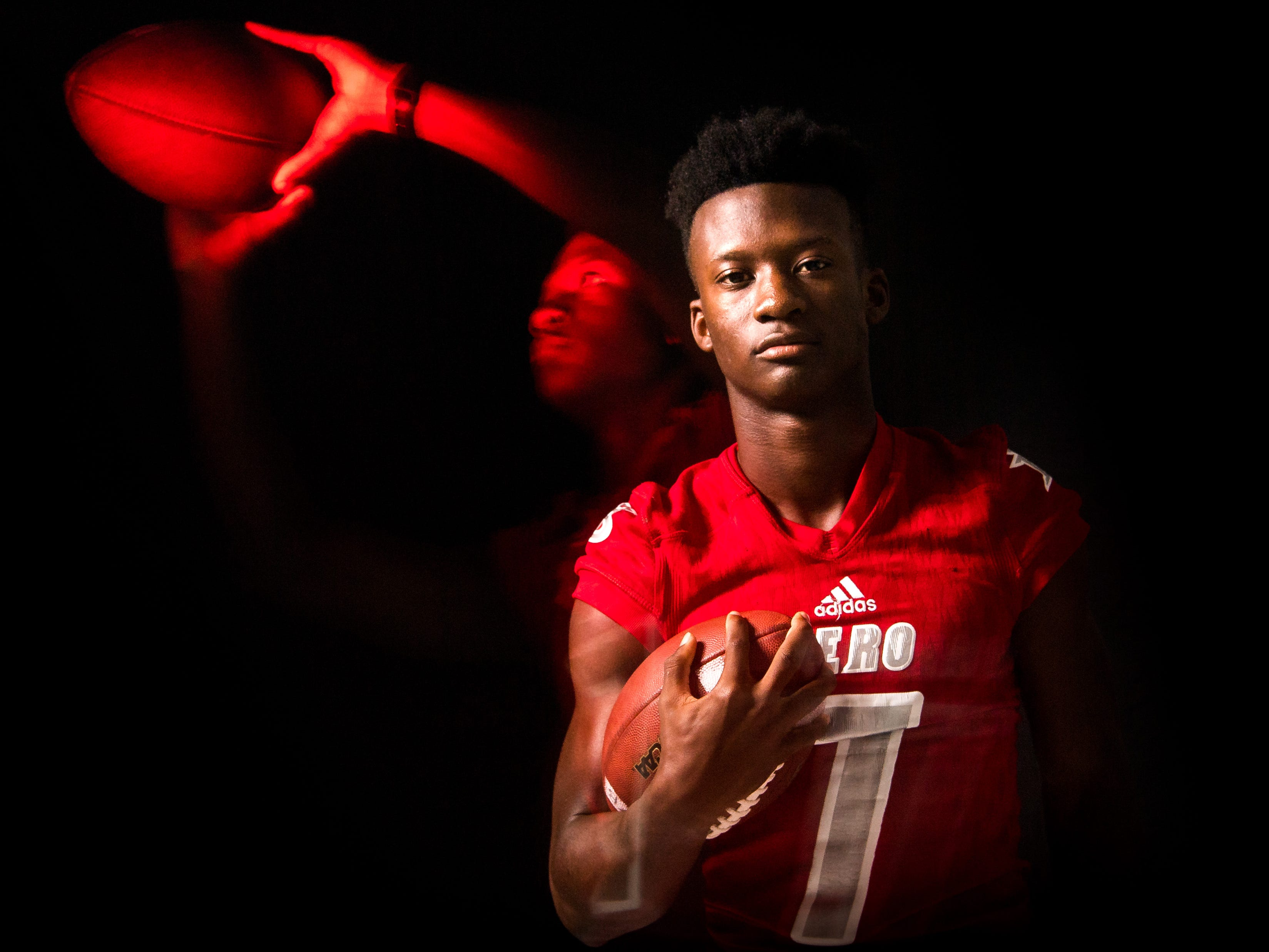 Keith Woulard, wide receiver for Vero Beach High School football, is photographed Wednesday, April 3, 2019, at TCPalm in Stuart.