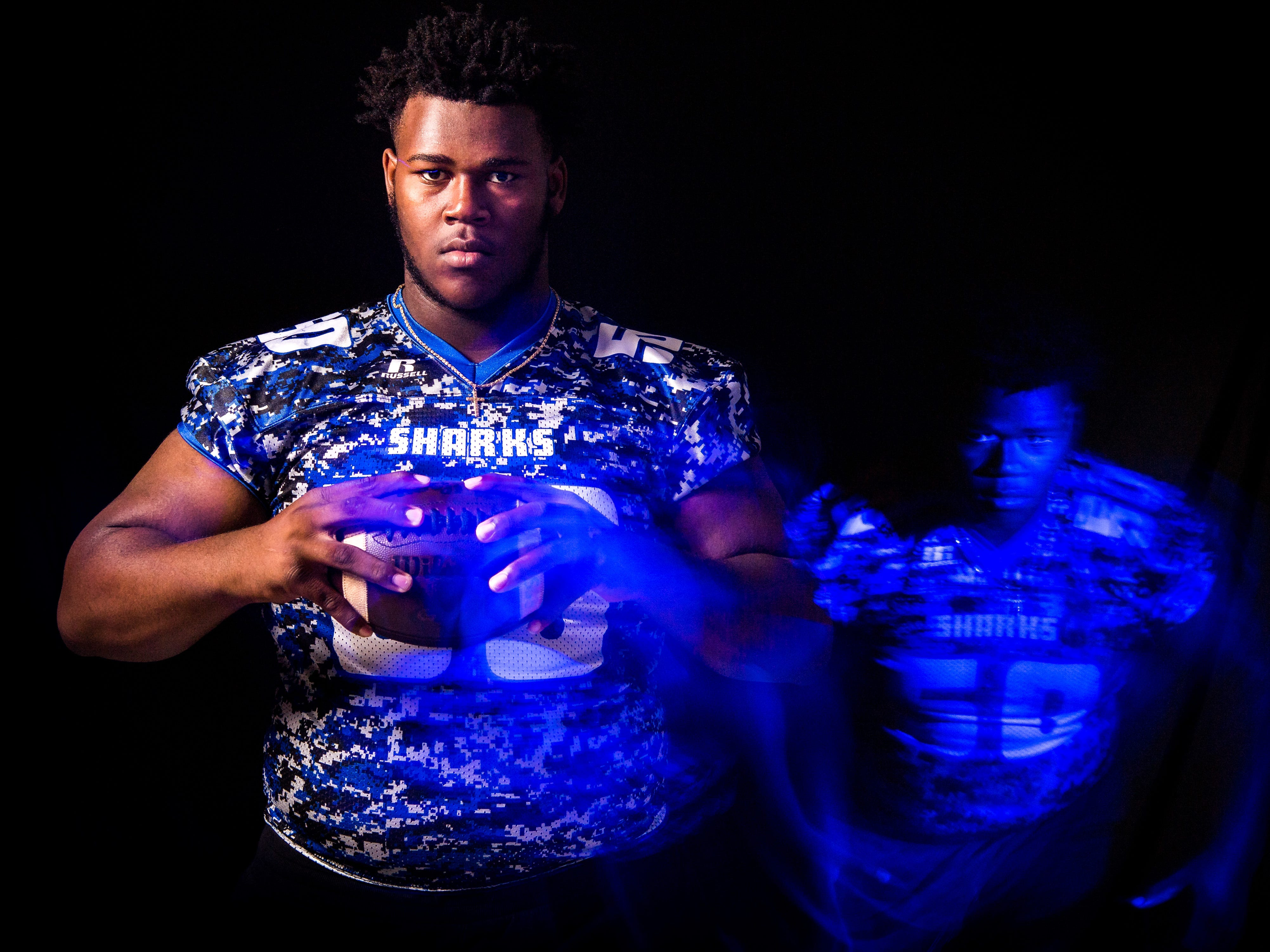 Timothy Smith, defensive line for Sebastian River High School football, is photographed Wednesday, April 3, 2019, at TCPalm in Stuart.