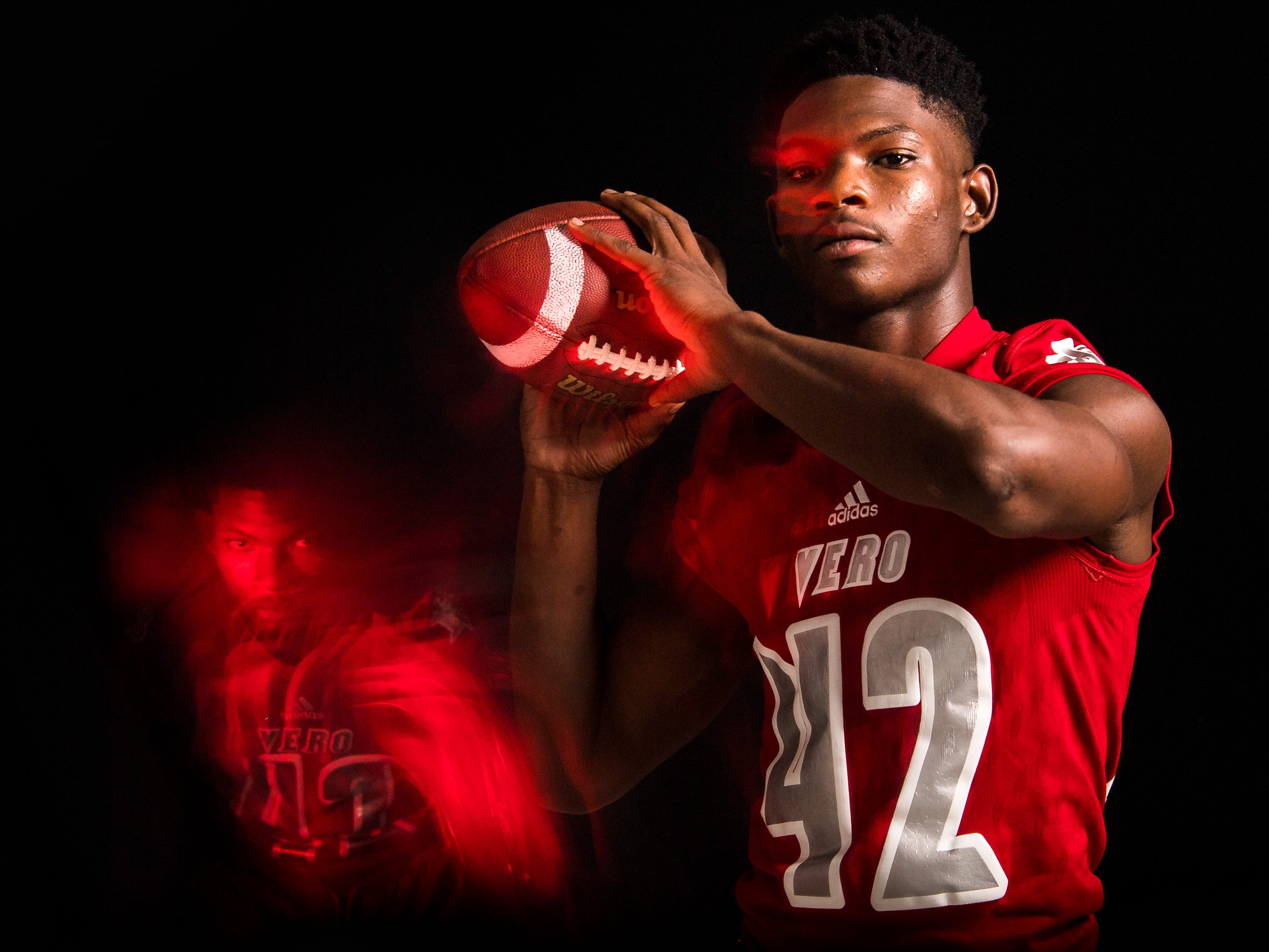 Evian Irving, free safety for Vero Beach High School football, is photographed Wednesday, April 3, 2019, at TCPalm in Stuart.