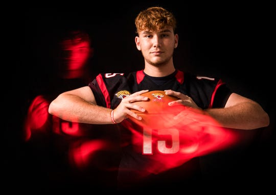 Gus McDaniel, tight end for Port St. Lucie High School football, is photographed Thursday, April 4, 2019, at TCPalm in Stuart.