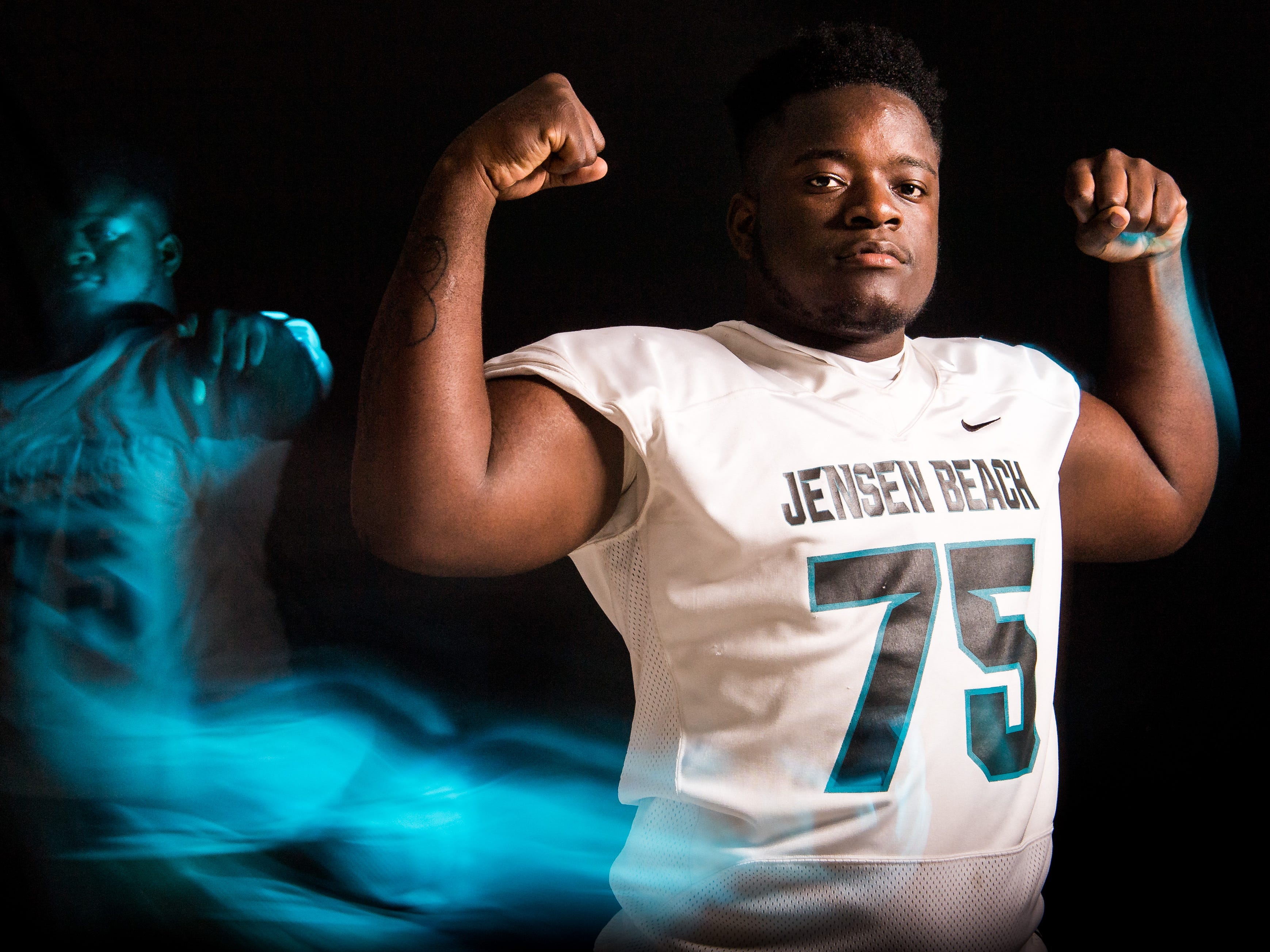 "Emanuel ""Manny"" Rogers, defensive tackle for Jensen Beach High School football, is photographed Thursday, April 4, 2019, at TCPalm in Stuart."