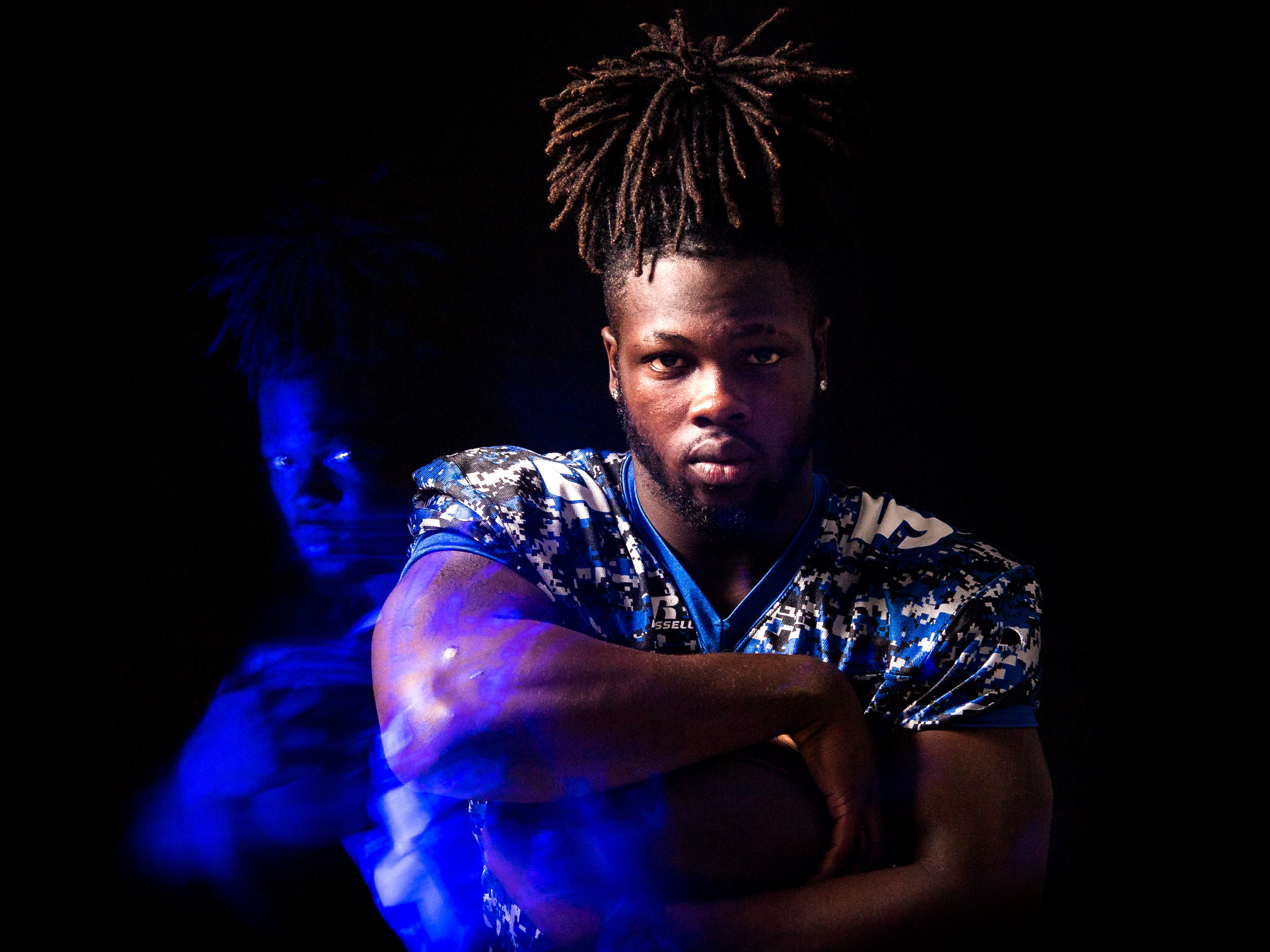 Javian Tomlinson, running back for Sebastian River High School football, is photographed Wednesday, April 3, 2019, at TCPalm in Stuart.