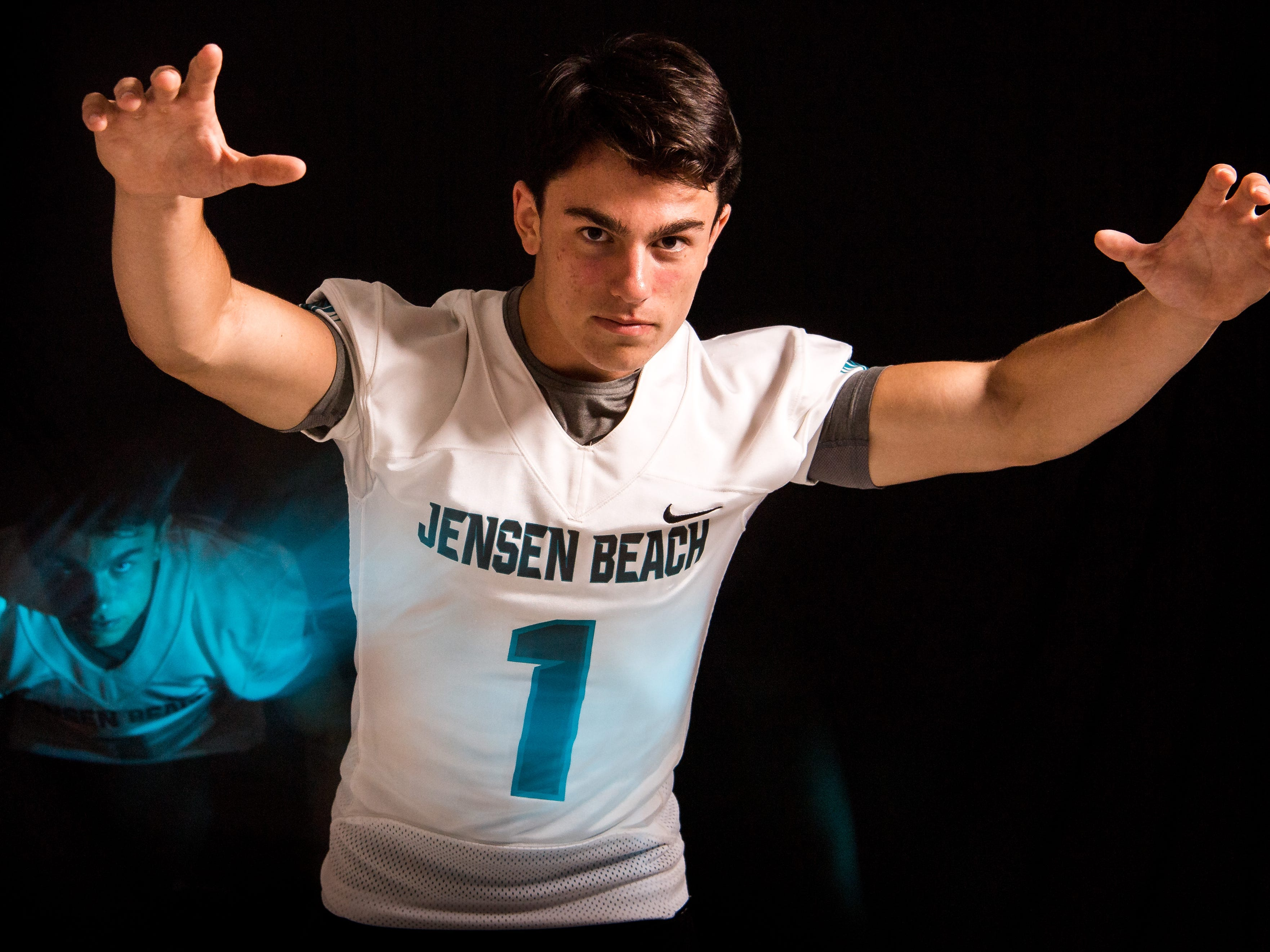 Liam Zaccheo, safety for Jensen Beach High School football, is photographed Thursday, April 4, 2019, at TCPalm in Stuart.