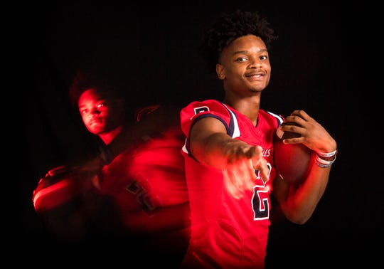 Jaquan Smith, wide receiver for St. Lucie West Centennial High School football, is photographed Thursday, April 4, 2019, at TCPalm in Stuart.