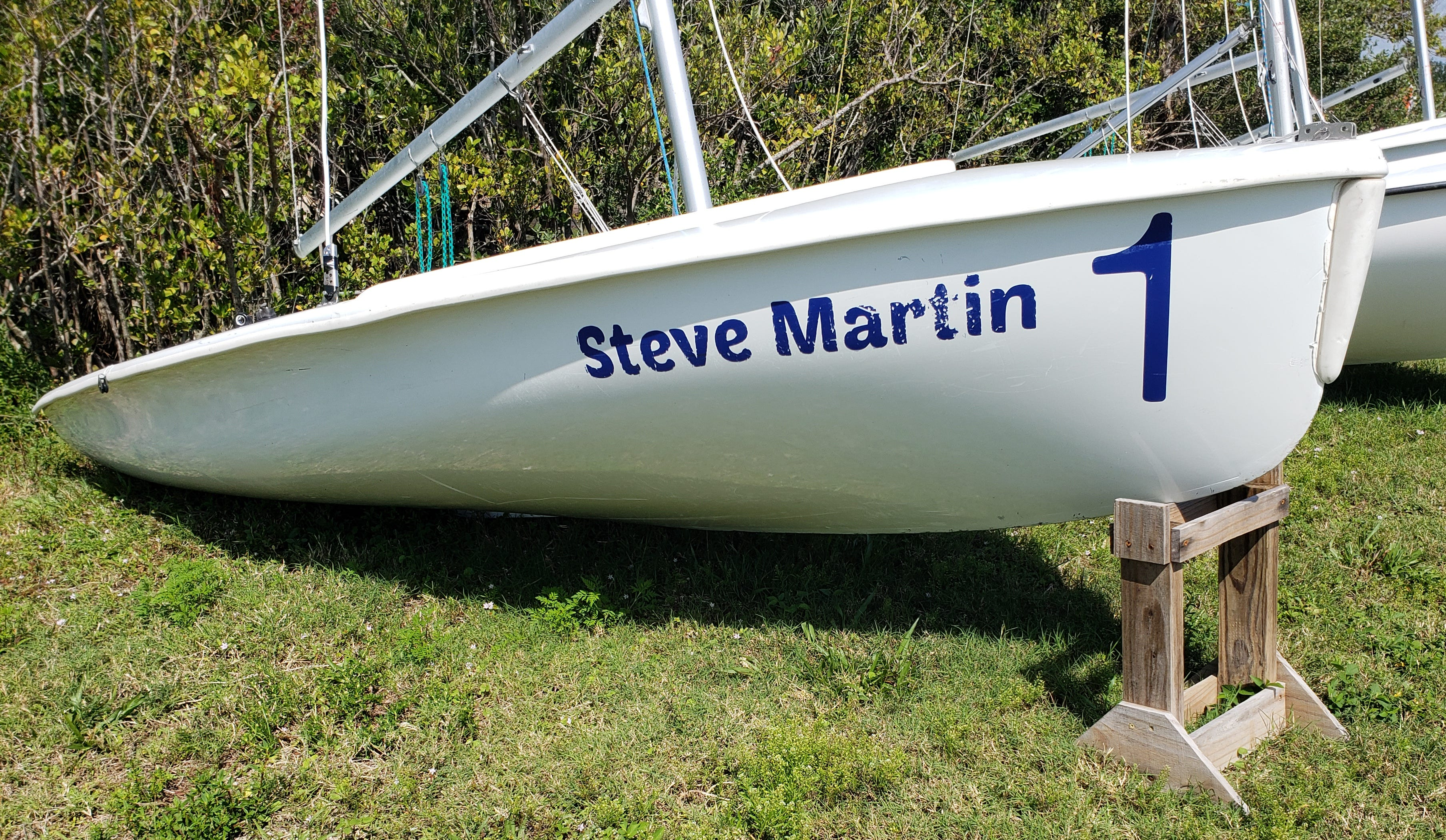 A Club 420 double-handed sailing dinghy dedicated in memoriam to Steve Martin, a longtime volunteer for the Youth Sailing Foundation of Indian River County sits ready Sunday in Vero Beach.