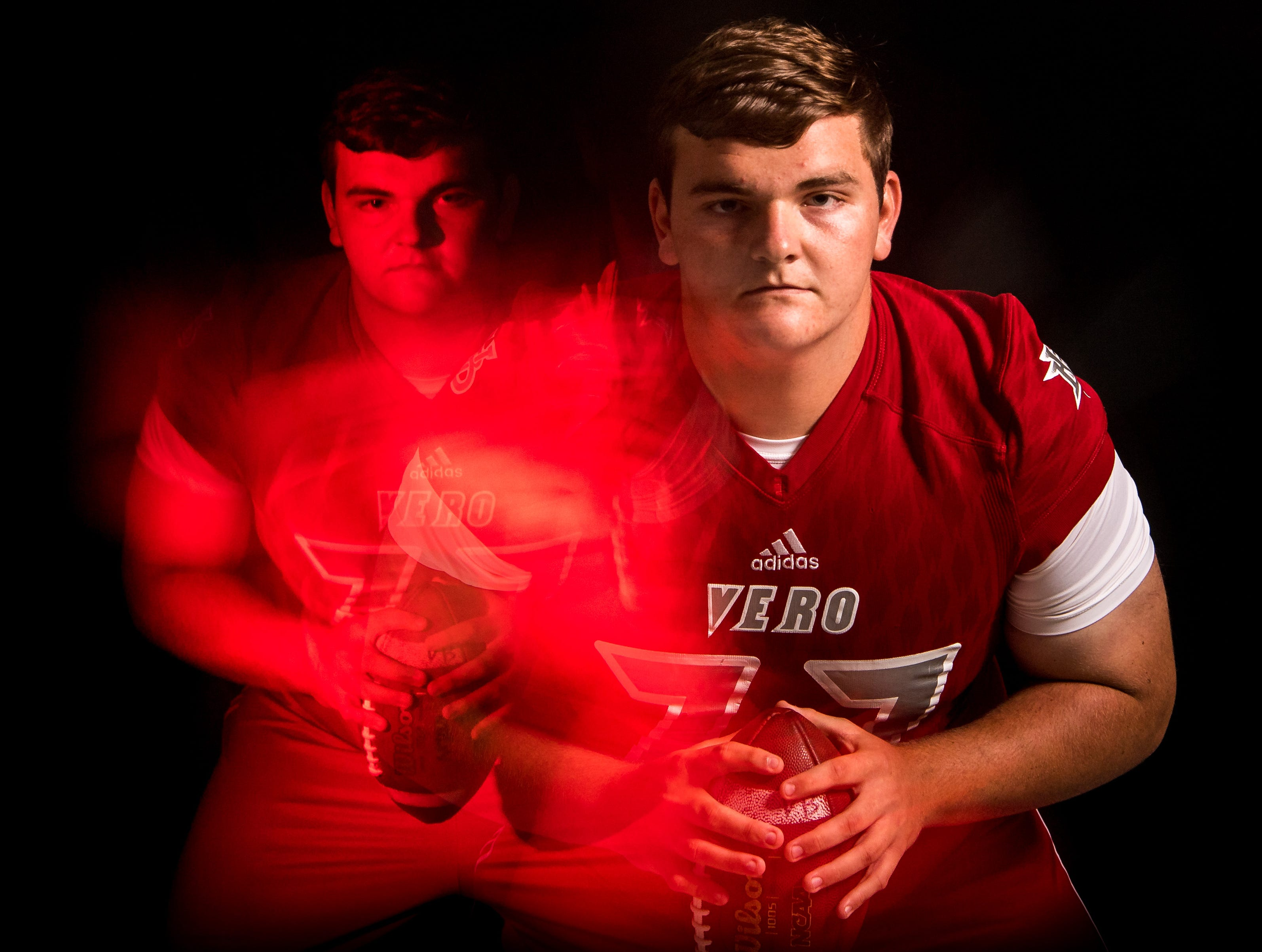 Trevor Goodrich, center for Vero Beach High School football, is photographed Wednesday, April 3, 2019, at TCPalm in Stuart.