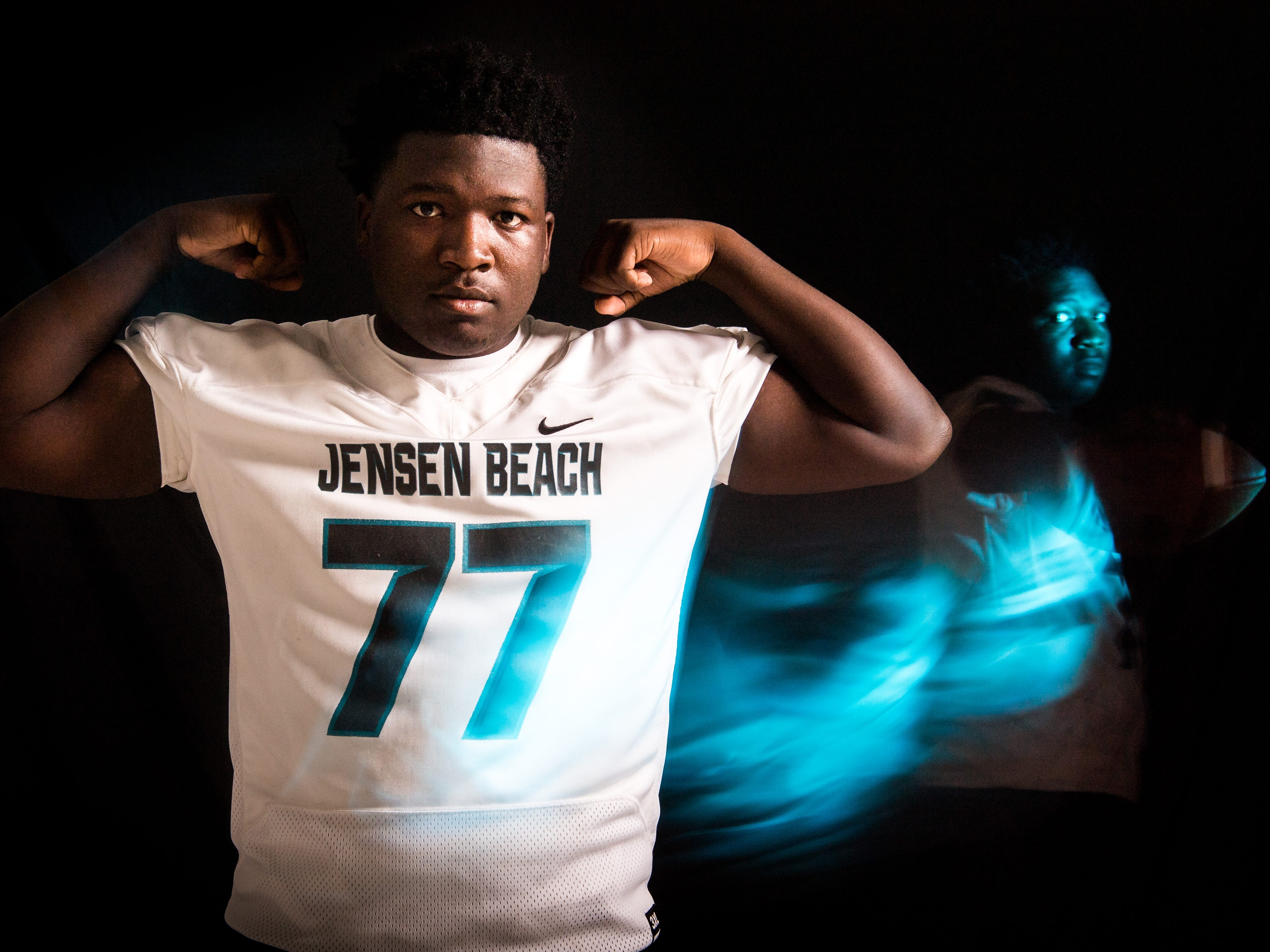 Jaron Alceus, defensive line for Jensen Beach High School football, is photographed Thursday, April 4, 2019, at TCPalm in Stuart.