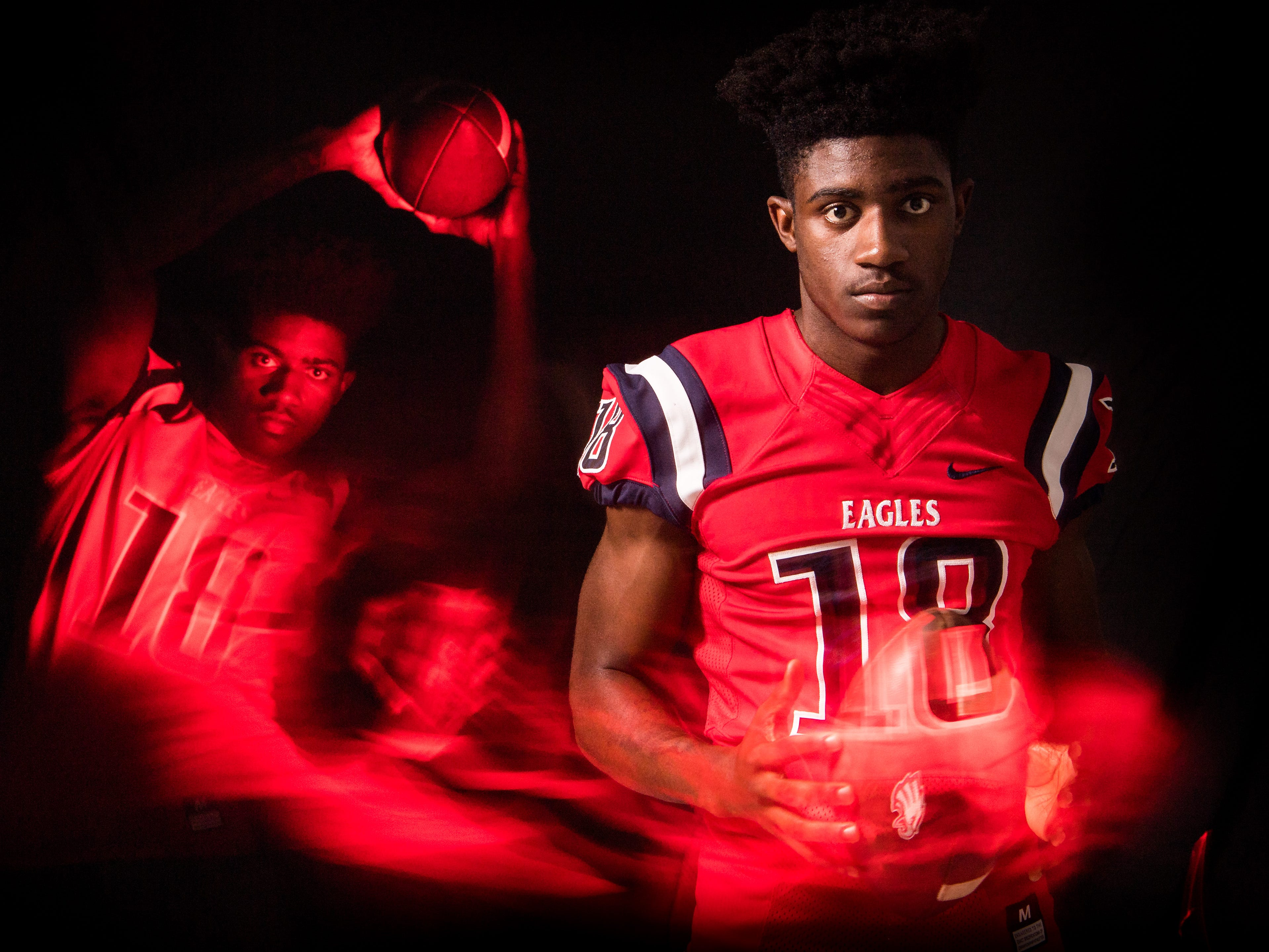 Datwan Blackwood, receiver for St. Lucie West Centennial High School football, is photographed Thursday, April 4, 2019, at TCPalm in Stuart.