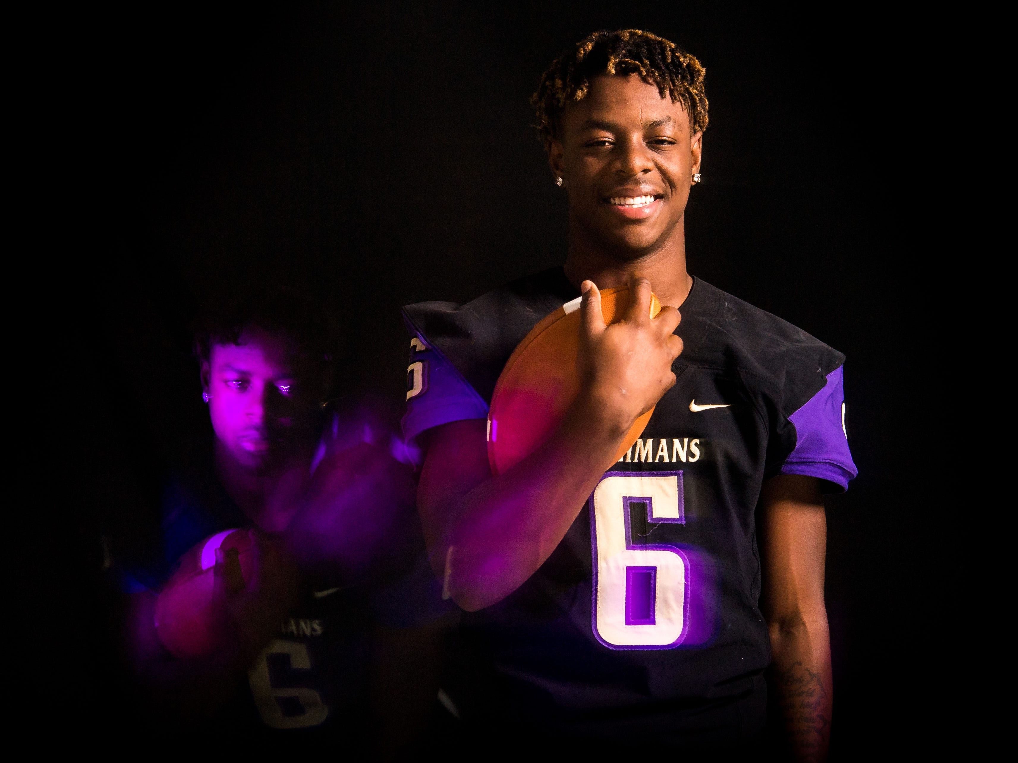 Veyon Washington, athlete for Okeechobee High School football, is photographed Wednesday, April 3, 2019, at TCPalm in Stuart.