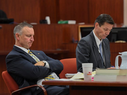 Chief Assistant State Attorney Tom Bakkedahl (left) and Assistant State Attorney Steve Gosnell wait to question another member of a jury pool on Tuesday, April 9, 2019, for the retrial of defendant Henry Lee Jones Jr., at the Indian River County Courthouse in Vero Beach. Jones Jr. was convicted in 2014 for the murder of Vero Beach resident Brian Simpson, who died in his barrier island home during an armed burglary in 2011, but is being retried due to error in jury selection in the first trial, involving racial prejudice.