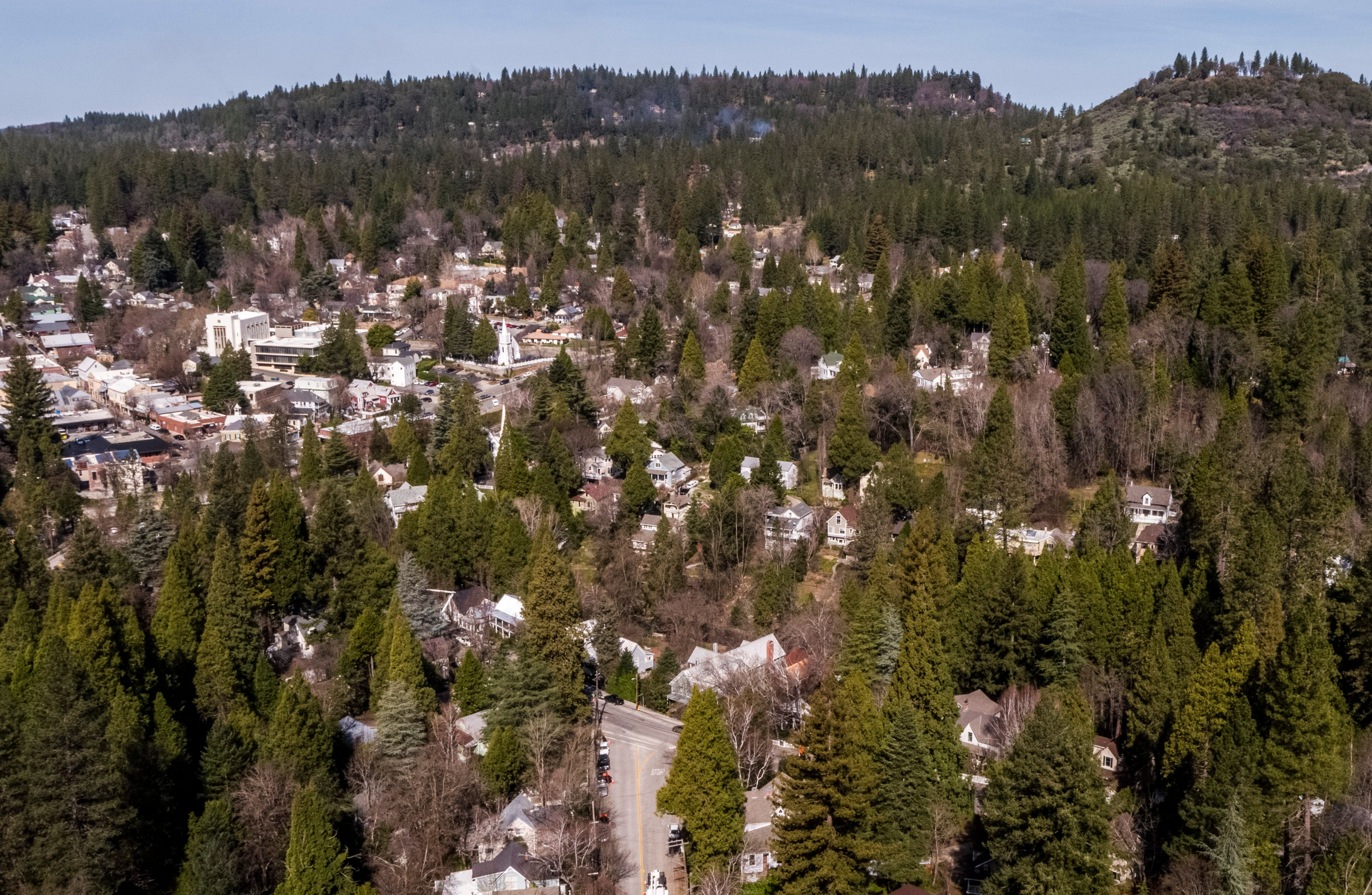 Downtown Nevada City, seen on on Thursday, March 14, 2019, is surrounded by a dense forested area, which increases its fire risk.