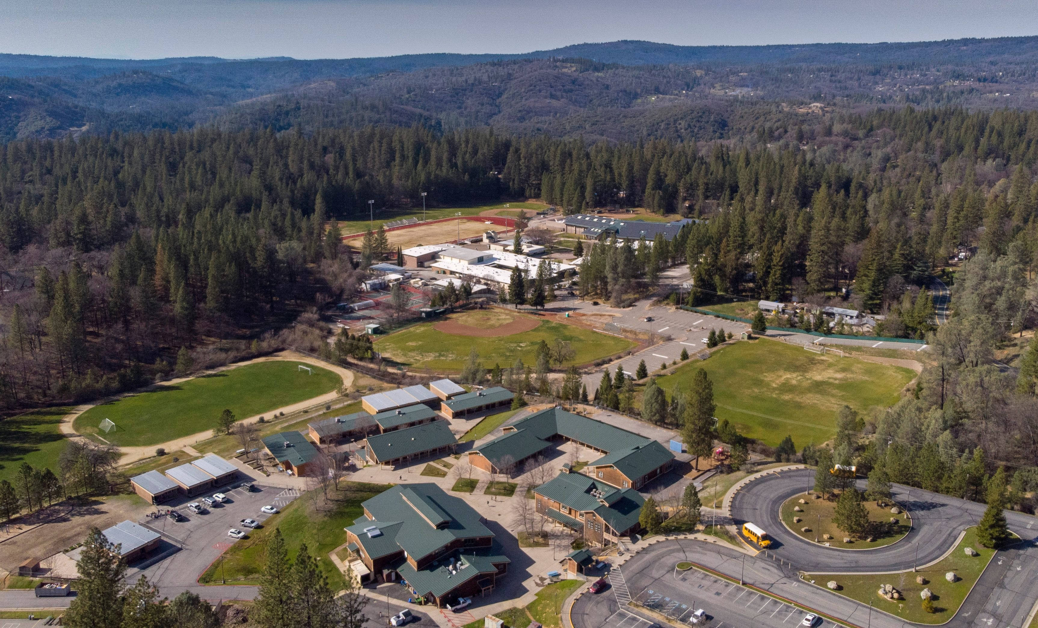 Colfax's elementary and high schools, seen on Thursday, March 14, 2019, are surrounded by trees but could become a safe zone in the event of a wildfire similar to the one that destroyed Paradise.