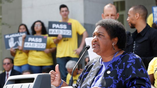 Assemblywoman Shirley Weber, D-San Diego, discusses her proposed measure to limit the use of deadly force by police during a rally at the Capitol on Monday, in Sacramento. Weber's bill would require officers to use de-escalation tactics and allow the use of deadly force only when it is necessary to prevent immediate harm to themselves or others.