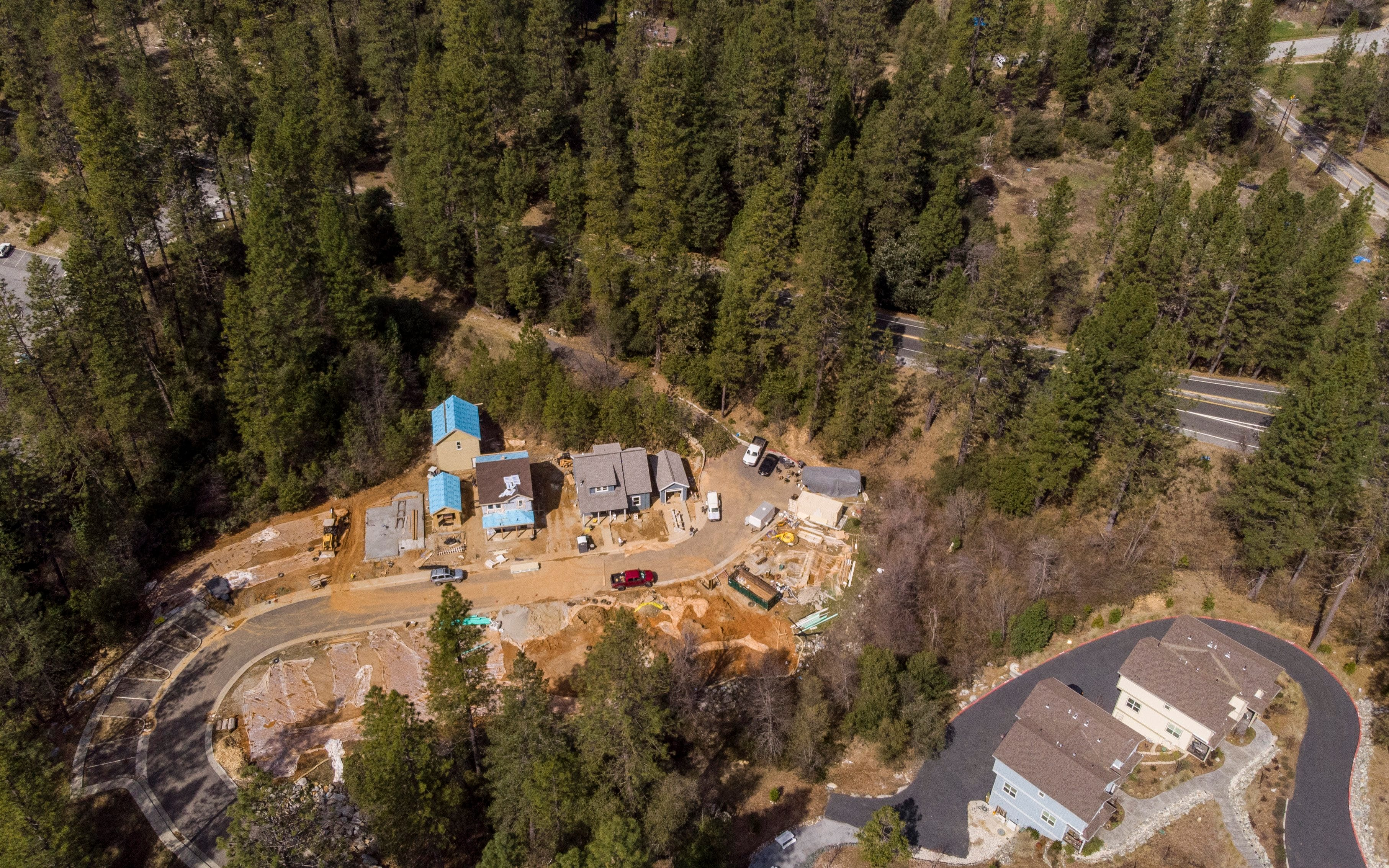 A housing development off Chief Kelly Drive in Nevada City is under construction on Thursday, March 14, 2019. California cities continue to build homes in areas of high wildfire risk.