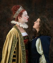 """Anna Demaria, from left, is Queen Elizabeth I and Bridget De Maria is the Pirate Queen, Grace O'Malley in the California Lutheran University production of  """"Pirate Queen"""" playing at the Janet and Ray Scherr Forum Theatre in the Thousand Oaks Civic Arts Plaza."""