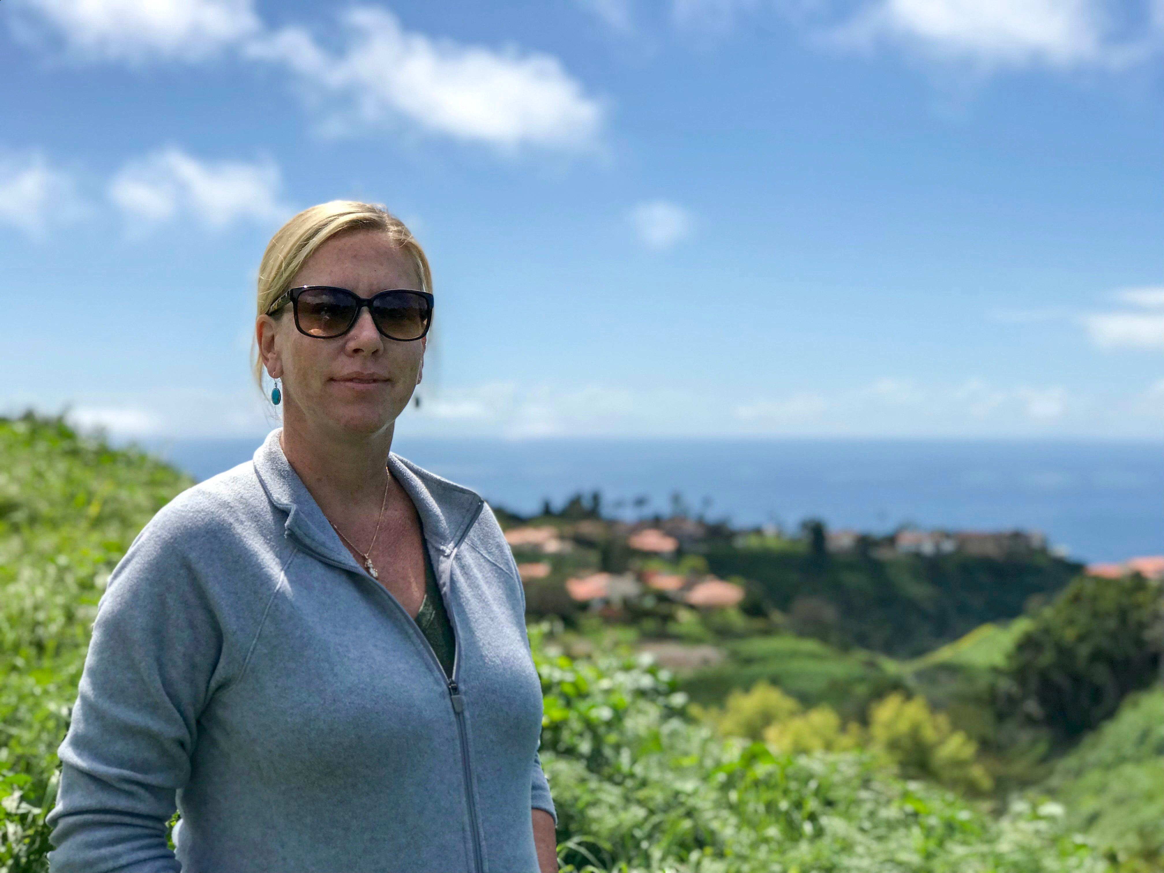 Adrienne Mohan, the executive director of the Palos Verdes Peninsula Land Conservancy, stands above acreage her organization maintains in Rancho Palos Verdes.