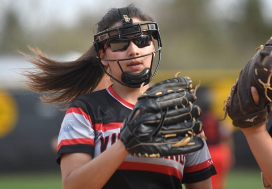 Vineland's Nicole Ortega was on the mound during a game against Millville on Monday. The Thunderbolts topped the Fighting Clan 4-3.