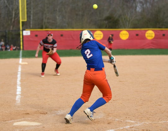Millville's Abbi Markee gets a hit during a game against Vineland on Monday. The Thunderbolts topped the Fighting Clan 4-3. 4/8/19
