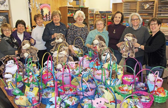 Zonta Club of Cumberland County members, (from left) Josie Neill, treasurer, Carol Iaconelli, Maryann Tamagni, Betsy Perugini, vice president, Sandi Ferrara, Cindy Hennessy, Fran Andolaro, Rosalie Forchinito, president, and Dolly Marciano, secretary, recently assembled and donated items for dozens of Easter baskets for distribution to children in programs served by the Shirley Eves Developmental and Therapeutic Center in Millville. Zonta is an international service organization of women in business and the professions who are dedicated to improving the status of women worldwide. For information, visit Zonta.org.