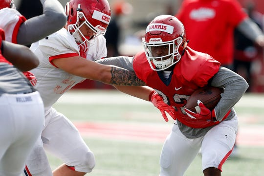 Fresno State running back Romello Harris is taking first- and second-team reps with the Bulldogs' football team this spring.