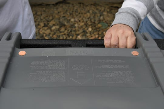 A Visalia sanitation official super glued two pennies to blind couple David McElroy and Pamela Drake's trash can, so they could tell the two bins apart by touch.