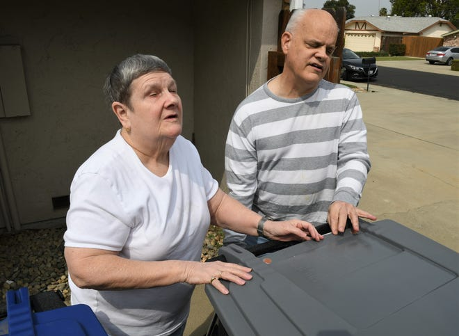 """Blind couple David McElroy and Pamela Drake are not happy with Visalia's three-can conversion. They say the switch is a significant problem for blind residents because the new bins """"are identical to the touch."""" According to the couple and advocates, the oversight is a symptom of larger accessibility problems for blind folks throughout the Central Valley, particularly its many rural communities."""