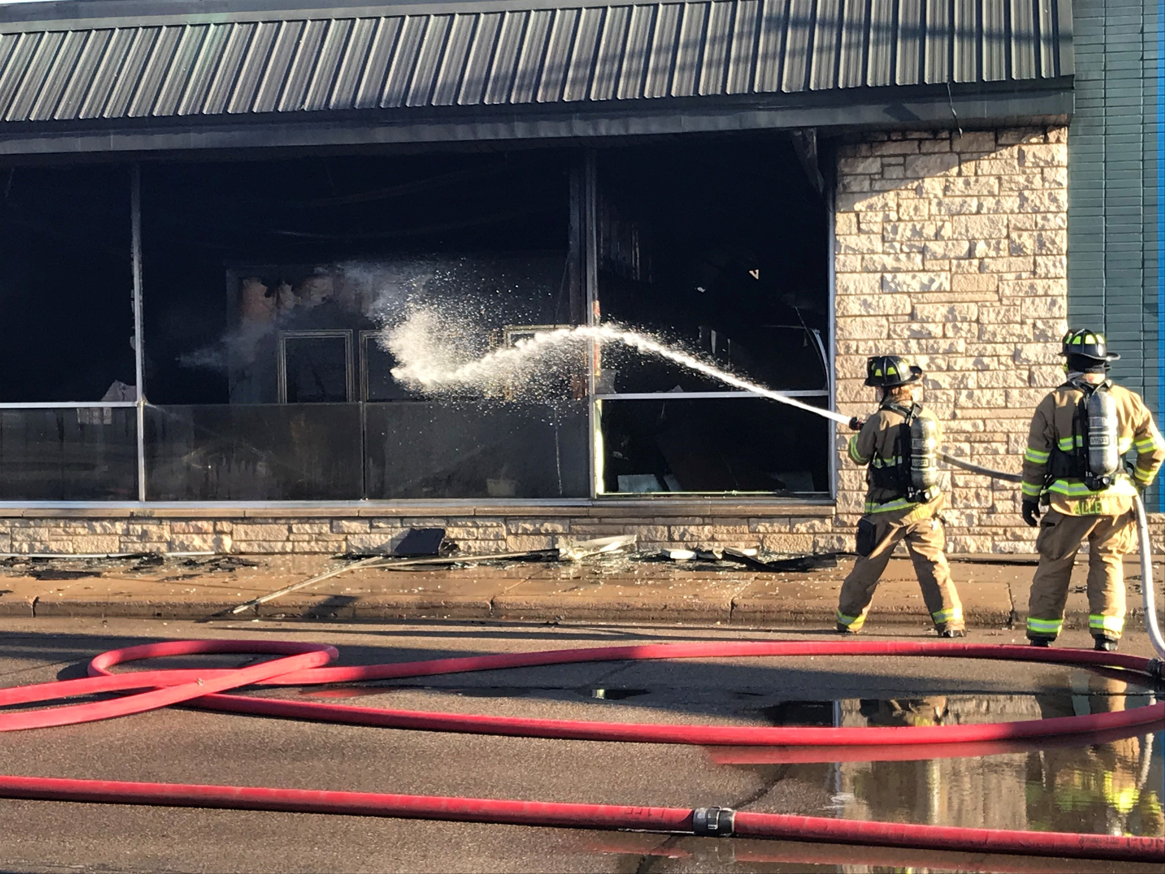 A fire badly damaged the Rainbow Coin Laundry building located at 210 Clark St. near downtown Wausau early Tuesday morning.