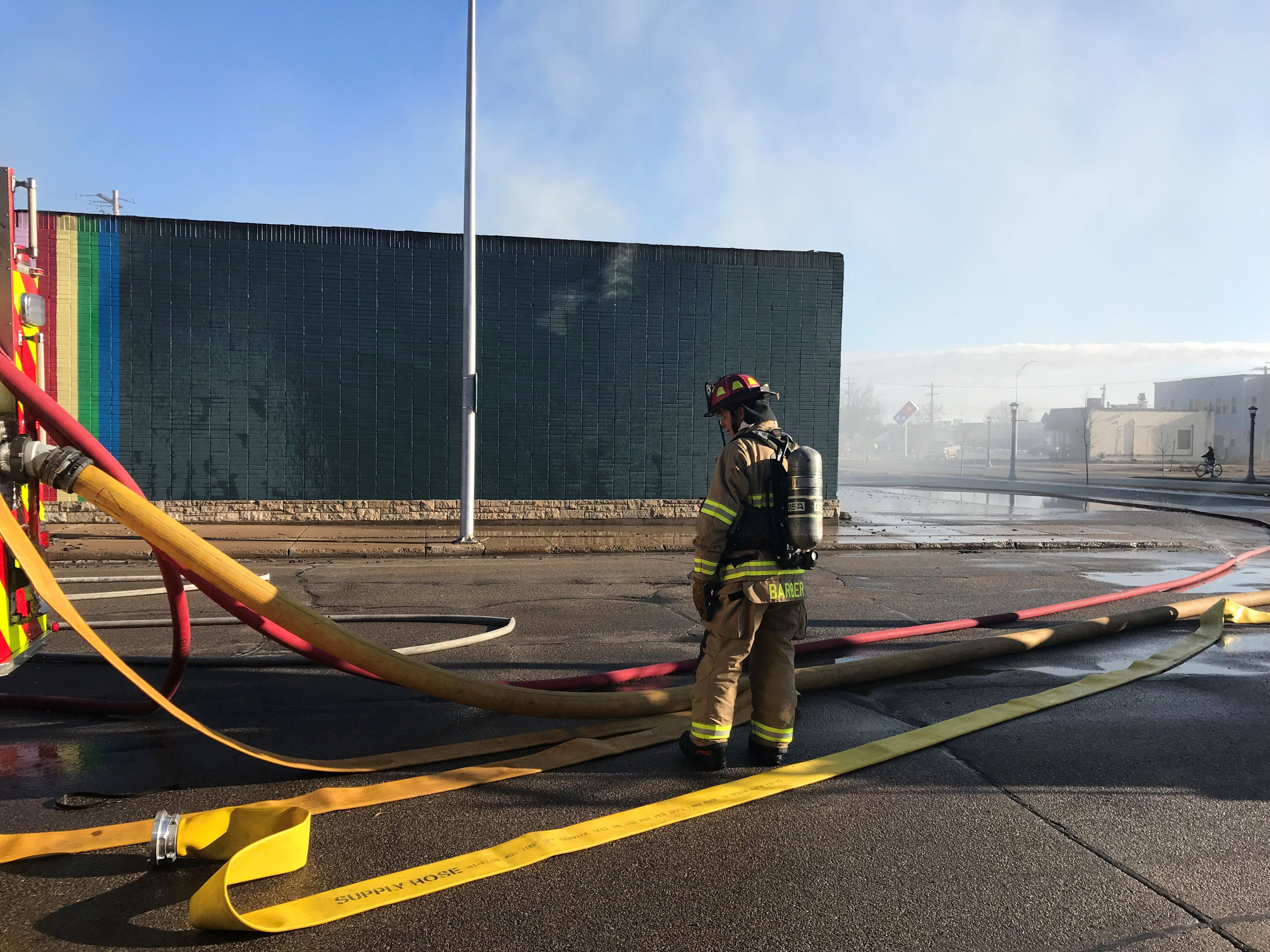 A fire destroyed the Rainbow Coin Laundromat and adjoining flower shop Tuesday morning.