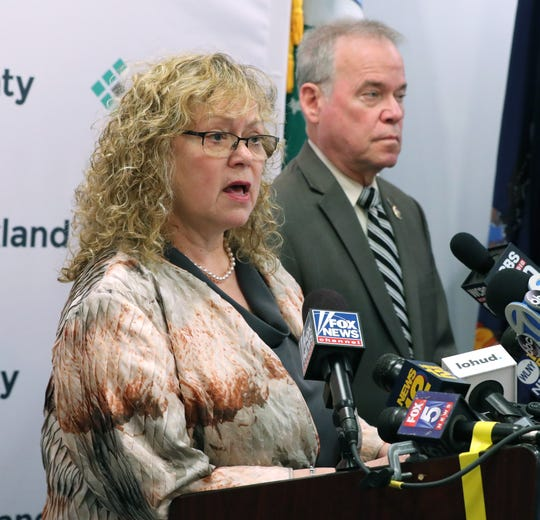 Rockland County Commissioner of Health Patricia Schnabel Ruppert and County Executive Ed Day give on update on their efforts to fight the measles outbreak in Rockland April 9, 2019.