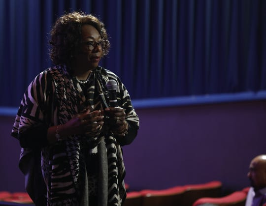 East Ramapo Superintendent Dr. Deborah Wortham talks overhauling the district'sÊcomplex busing system which will result change the starting and ending times of the school day to save money during meeting at Ramapo Cultural Arts Center in Spring Valley April 8, 2019.