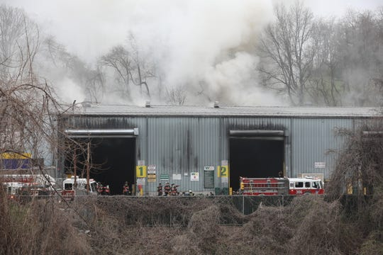 A smoky fire broke out at the Waste Management facility in Yonkers on Tuesday, April 9, 2019.