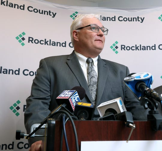 Rockland County Attorney Thomas Humbach gives on update on the county's effort to fight the measles outbreak April 9, 2019.