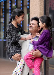 Dhiren Amin, President of the Indian Business Association of New Jersey, with his daughters Anushka, 8, and Nishka, 5, in Edison, N.J. April 2, 2019. Amin is excited about having two women with South Asian connections running for the Democratic nomination for President. He feels that  either Sen. Kamala Harris of California or Rep. Tulsi Gabbard of Hawaii would be deserving of his vote.