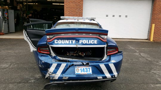 A Westchester County police officer was injured when his patrol car was rear-ended in Yonkers on April 7, 2019.
