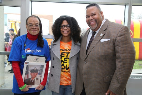 From left, Roxanne Watson, SUNY Rockland Community College student Rhonda Harris and RCC President Michael Baston on April 9, after Harris became the 11,000th person that Watson signed to the New York organ donor registry.