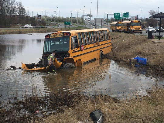 A school bus crashed into a retention pond off of Christiana and Stanton roads on Monday afternoon.