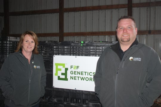 Dawn Burroughs, left, and Jason Hawkinson are account executives with the Farmers Business Network, a startup company offering farmers the chance to look at unbiased data provided by members, analyzed through sophisticated computing and customized to their acreage to help them make their best decisions. Burroughs and Hawkinson both work with farmers in Wisconsin on behalf of the FBN.