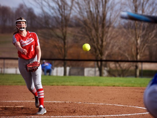 Sydney Campolo fires a pitch to the plate during Sheridan's 4-2 win on Monday against visiting Maysville. She will continue her softball career at Rio Grande.