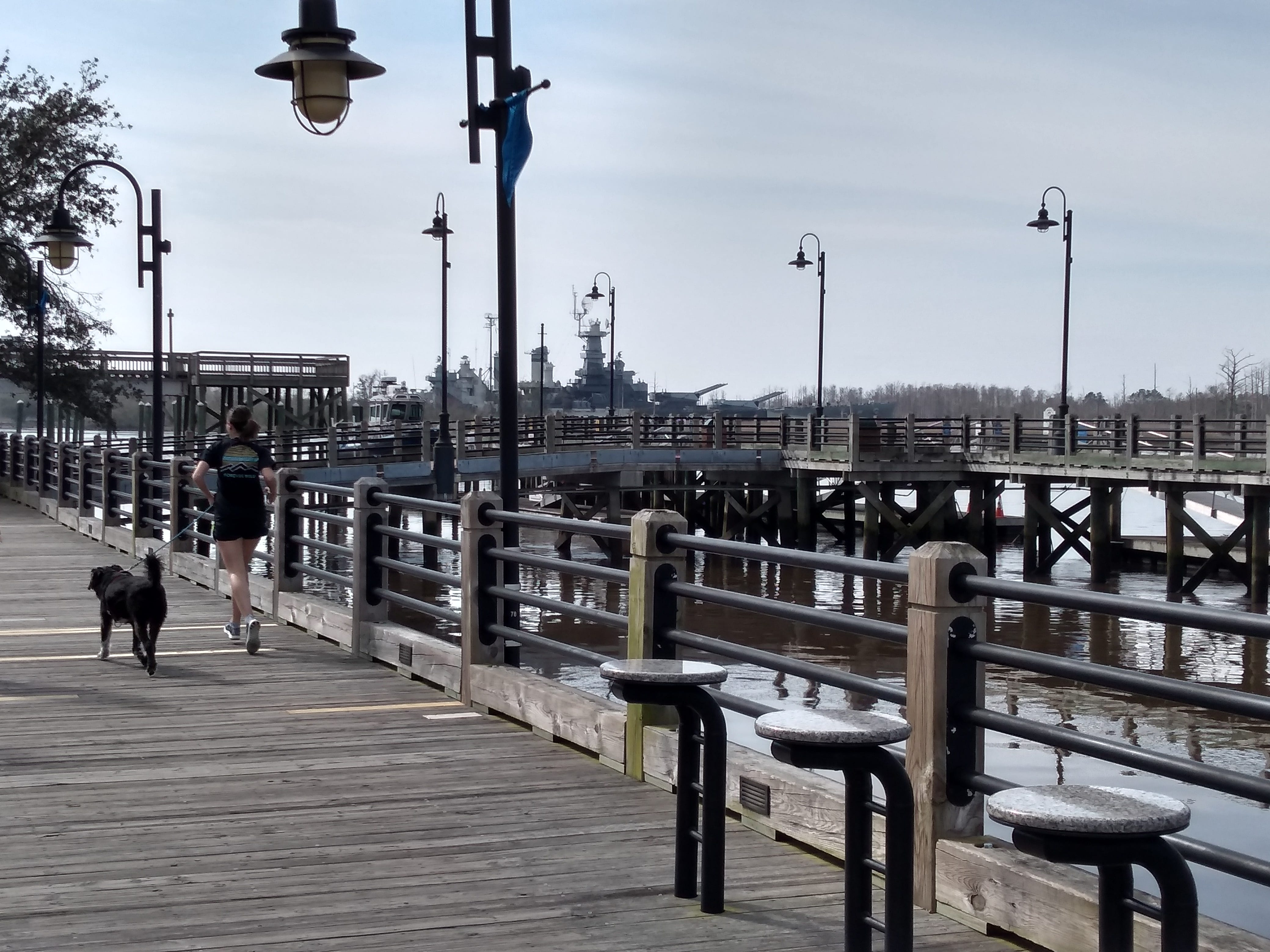 The riverwalk along the Cape Fear River is 1.7 miles long.