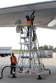 A Virgin Atlantic VS16 flight preparing for take off at Orlando International Airport in Florida on October 2, 2018.
