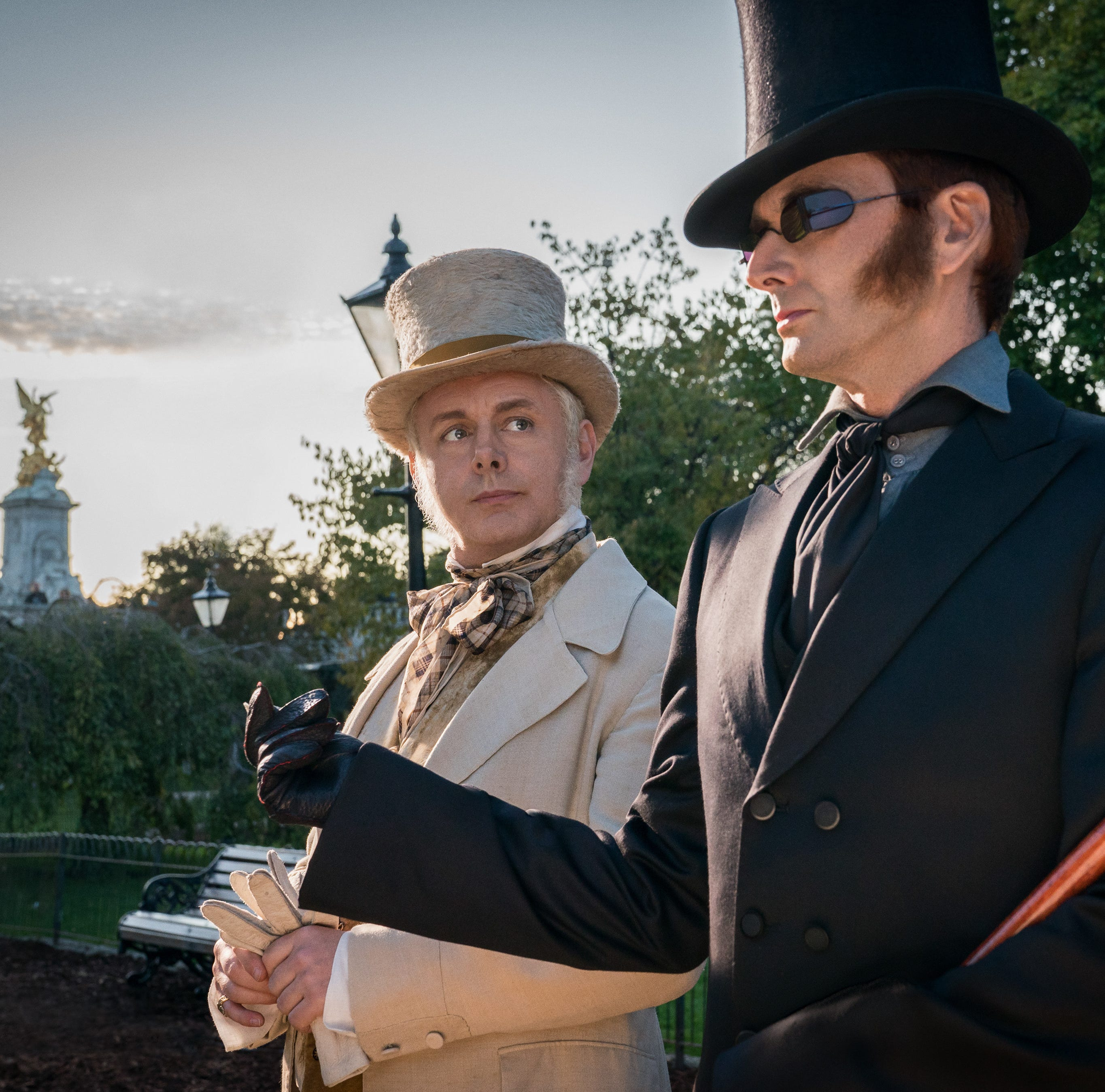 Michael Sheen, left, plays an angel and David Tennant plays a demon in 'Good Omens,' an Amazon fantasy series that premieres May 31.