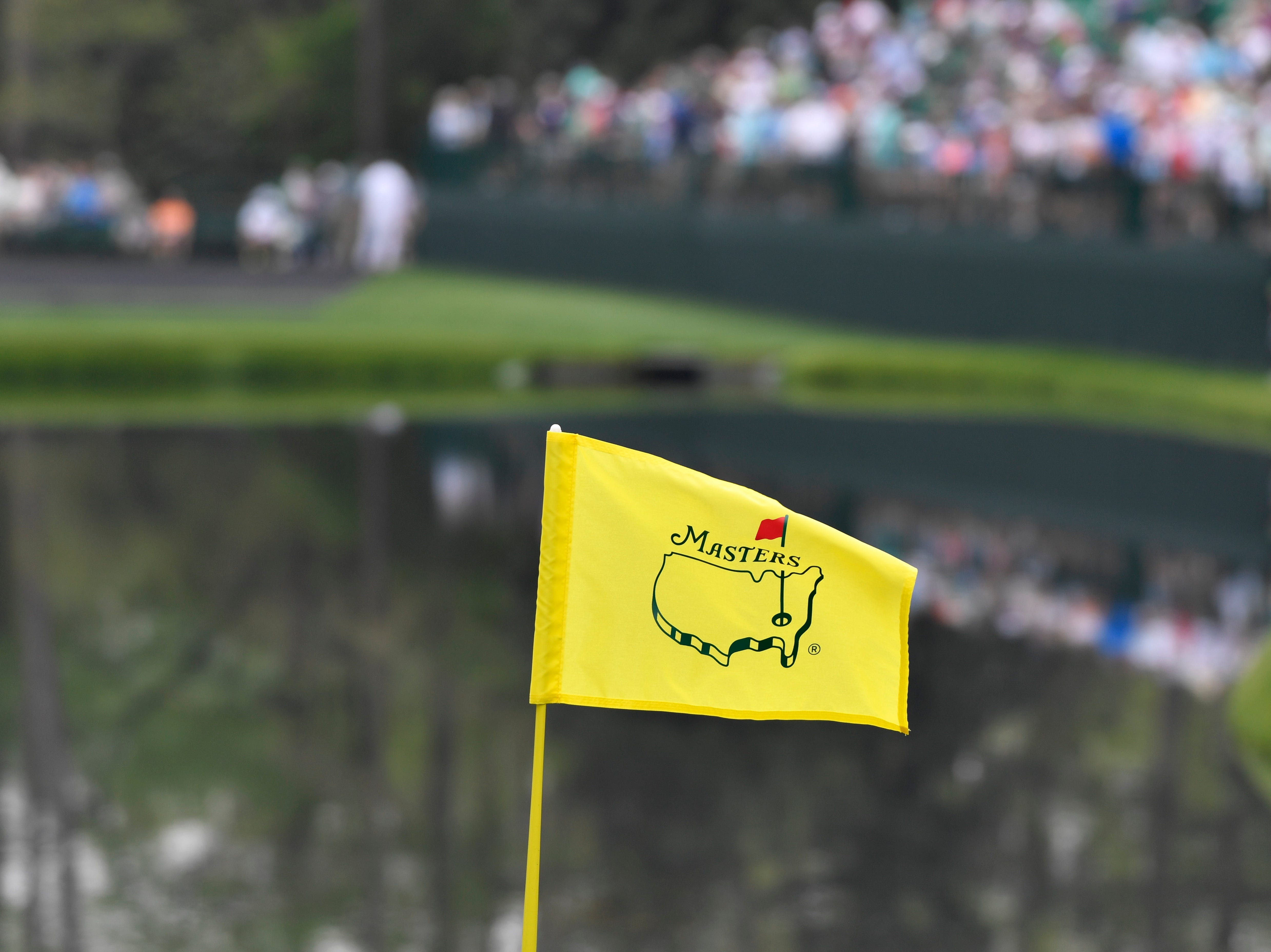 The flagstick at the 16th green during a practice round for the Masters golf tournament at Augusta National Golf Club.