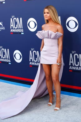 epa07491260 US singer Maren Morris arrives for the 54th Annual Academy of Country Music Awards at the MGM Grand Garden Arena in Las Vegas, Nevada, USA, 07 April 2019.  EPA-EFE/NINA PROMMER ORG XMIT: NPX01