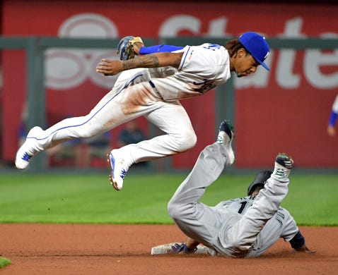 April 8: Kansas City Royals second baseman Adalberto Mondesi tags out Seattle Mariners designated hitter Edwin Encarnacion trying to steal second base in the third inning at Kauffman Stadium. The Mariners won the game, 13-5.